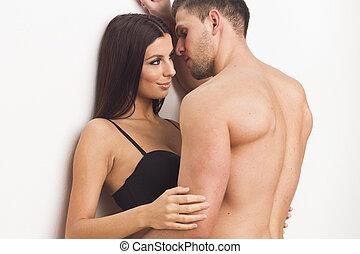 sexy, paar, junger, umarmen