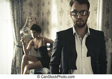 sexy, paar, schalfzimmer