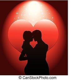 sexy, paar, silhouette, met, rood, hea