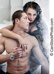 sexy, pareja, en, romántico, postura