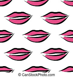 Sexy parted female lips seamless pattern