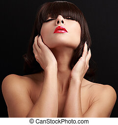 Sexy passion woman with closed eyes and red lips posing. Closeup