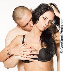 sexy, passione, coppia, bianco