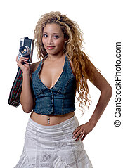 Sexy photographer - beautiful woman with long blond curly...