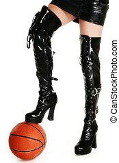 sexy, piernas, baloncesto
