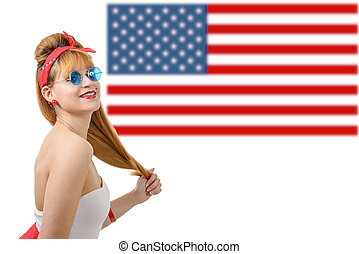 Sexy pin up girl with an American flag.