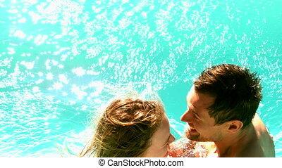 sexy, piscine, couple, tremper