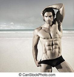 sexy, plaża, człowiek