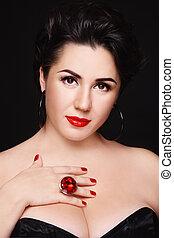 Beautiful plus-size busty woman with stylish make-up
