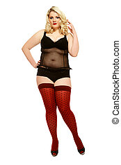 Sexy plus-size girl - Beautiful blond plus-size woman in...