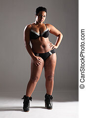 Sexy plus size glamour model girl in lingerie - BBW big...