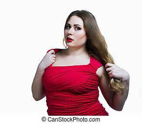 plus size model - sexy plus size model against white...