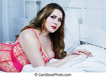 plus size model - sexy plus size model wearing a corset in...