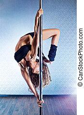 Sexy pole dance woman