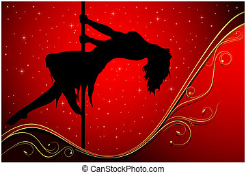 Silhouette of a pole dancer
