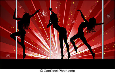 Sexy pole dancers - Silhouettes of sexy females pole dancing
