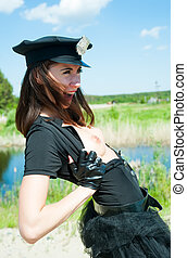 Sexy police woman bared breast on road