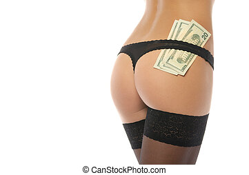 Sexy polly in black panties and money isolated on white