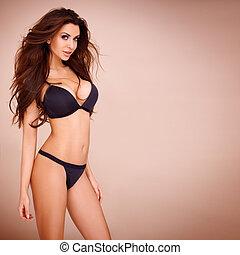 sexy, pose, van, een, donkere haired, vrouw
