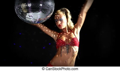 sexy professional gogo lily malibu shot dancing under a...