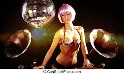 sexy professional gogo lily malibu shot dancing and posing...