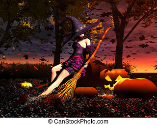 Sexy Pumpkin Witch - Sexy witch resting in the Halloween...