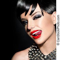 Sexy punk fashion model girl. Rocker style brunette
