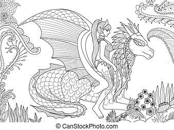 sexy queen riding a dragron - Sexy queen riding a dragon for...