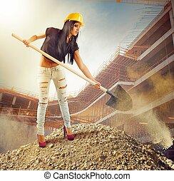 sexy, ragazza, muratore