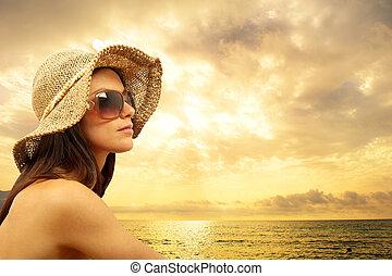 sexy, ragazza, spiaggia
