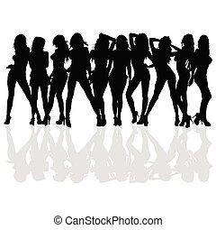 sexy, ragazza, vettore, silhouette, bellezza