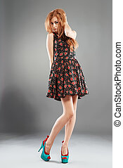 Sexy Red-Haired Fashion Model