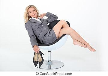 Sexy Frau Fällig Schnitt Aber Frau Schwarz Niedrig Fällig