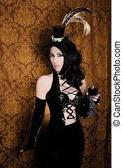 sexy, retro, cabaret, -, charmant, vixen, à, gothique, verre