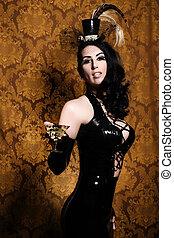 sexy, retro, cabaret, -, charmant, vixen, à, vendange, verre