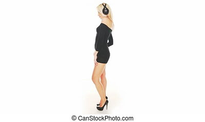 sexy, robe, femme, noir, danse