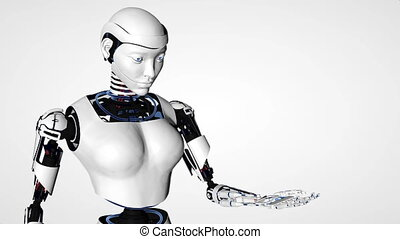 Sexy robot android woman. Cyborg future technology,...