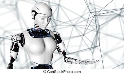 Sexy robot android woman holding a digital planet earth.....