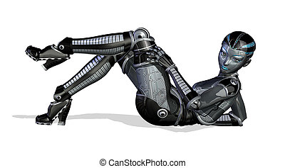 3D render of a sexy female robot in a reclining pose.