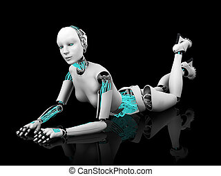Sexy robot woman posing on the floor nr 2.