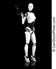 Sexy robot woman smoking a cigar nr 2.