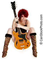 Sexy Rocker Girl - Beautiful redhead with guitar over white.