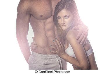 Sexy Romantic Couple on Haze Portrait. Emphasizing Seductive...