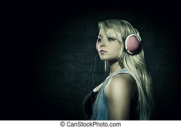 sexy, rubio, mujer, auriculares