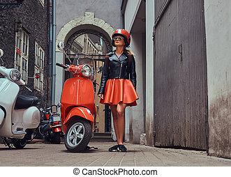 bc25ad816 Falda, mini, camboya, asiático, sexy, niña, casco, motocicleta.