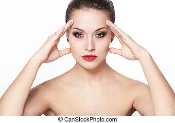 sexy, séance, caucasien, pureté, flèche, charme, maquillage, modèle, portrait, complexion., lèvres, peau, clair, jeune, sérieux, propre, rouges, femme, parfait, oeil