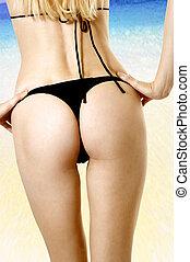 sexy, salud, cuerpo femenino, en, playa
