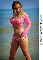 sexy, sandstrand, bikini, m�dchen