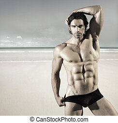 sexy, sandstrand, mann