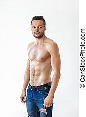 sexy, sans chemise, homme, musculaire, portrait
